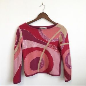 Retro Pink Psychedelic Sequin Sweater